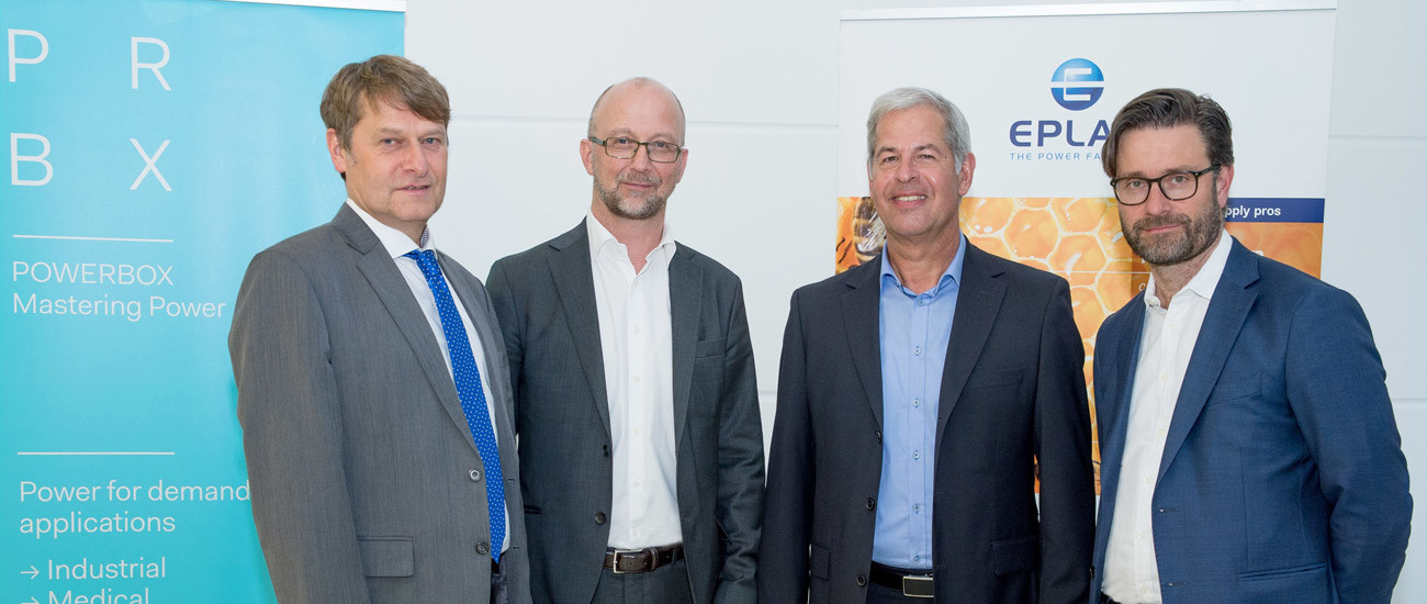 From left to right: Andreas Mielke – Eplax – Co-Managing Director, Martin Sjöstrand – Powerbox C.E.O., Wolfgang Pape – Eplax – Co-Managing Director, Henrik Flygar – Alder / Powerbox – Board Member